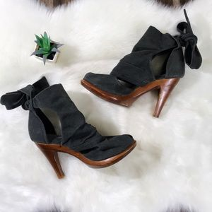 JEFFREY CAMPBELL Gray Canvas Heeled Woodies Boots
